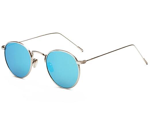 Glestore Herren Sonnenbrille Mode Outdoor Unisex Verspiegelt Fahren Federscharnier Matt Rahmen Runde Gradient Brille Blau 0fVme1