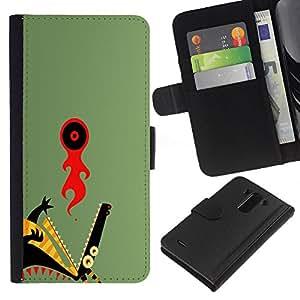 LECELL--Cuero de la tarjeta la carpeta del tirón Smartphone Slots Protección Holder For LG G3 -- Resumen del dragón --