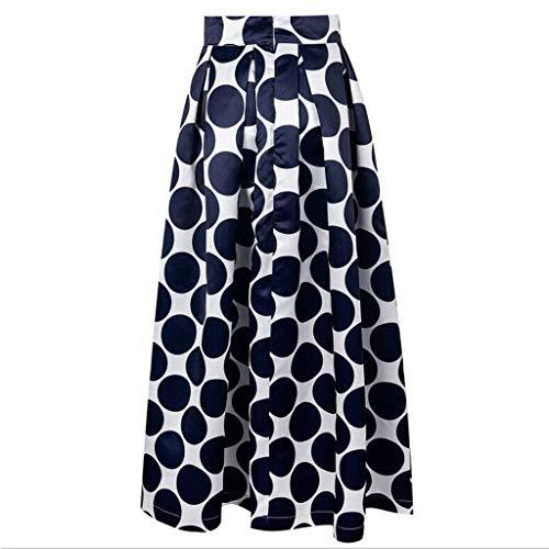 Kulywon Fashion Party Cocktail Summer Women Dot Printed Skirt High Waist Long Skirt Navy ()