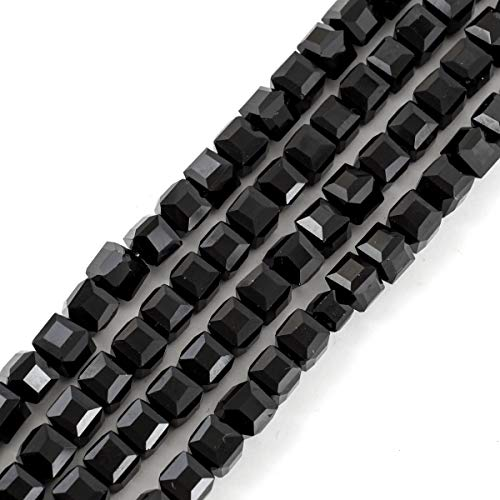 Cube Beads Jet - 2 Strands Top Quality Czech Cube Crystal Glass Loose Beads 8mm Jet Black (~138-144pcs) for Jewelry Craft Making Supplies CCC823