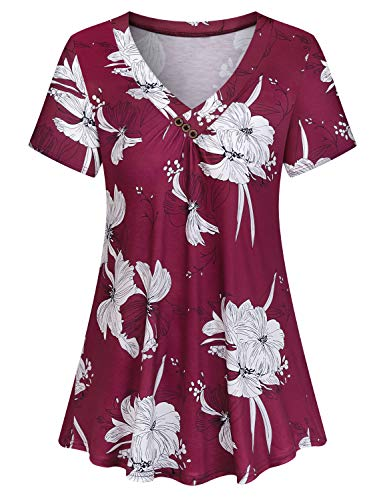 Viracy Blusas, Juniors Hawaiian Shirts for Women Short Sleeve V-Neck Blouses Casual Flowy Tunic Shirt (Large, Wine) (Cotton V-neck Blouse)