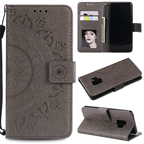 Galaxy S9 Floral Wallet Case,Galaxy S9 Strap Flip Case,Leecase Embossed Totem Flower Design Pu Leather Bookstyle Stand Flip Case for Samsung Galaxy S9-Grey by Leecase