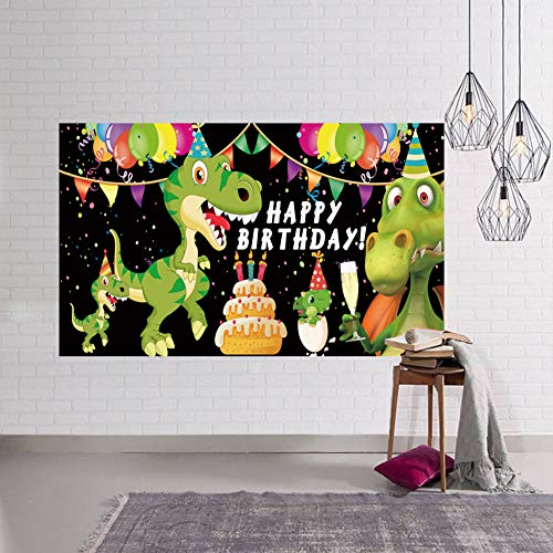 Colormoon Large Dinosaur Happy Birthday Banner, Dinosaur Party Supplies Decorations, Dinosaur Backdrop Background Tablecloth, Indoor Outdoor (3.3 x 6.6 ft)
