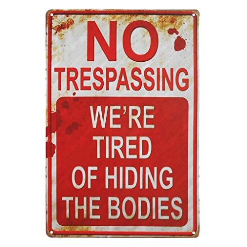 -  Orcbee  _No Trespassing Retro Metal Sign Flag Plaque Bar Club Cafe Garage Wall Decor Art (Red)