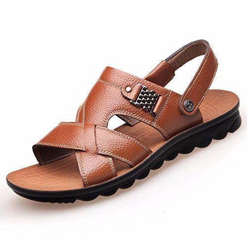 Männer Sandalen Männer Echtleder Das neue Strand Schuh Jugend Sommer Trend Schüler Sandalen Freizeit Schuh ,GelbA,US=7.5,UK=7,EU=40 2/3,CN=41