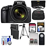 Nikon Coolpix P900 Wi-Fi 83x Zoom Digital Camera + 64GB Card + Battery & Charger + 3 Filters + Case + Tripod Kit (Certified Refurbished) For Sale
