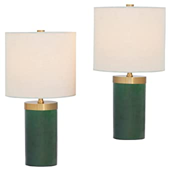 Loraine Modern Emerald Green Cylinder Mini Table Lamps Set Of 2