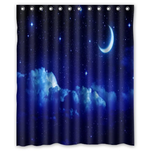 New york city skyline at night Shower Curtain, Shower Rings Included 100% WaterProof Polyester Fabric 60