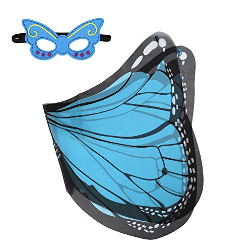 [Ecparty Monarch Butterfly Wings and Mask Bundle Set for Children (Bule)] (Blue Monarch Butterfly Costume)
