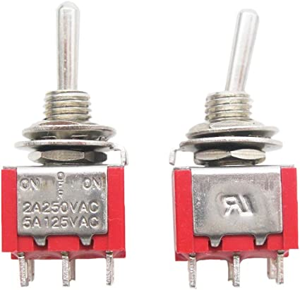 mxuteuk 8pcs MTS-203 6 Terminal 3 Position DPDT Mini Miniature Toggle Switch Car Dash Dashboard ON//Off//ON 5A 125V 2A 250V