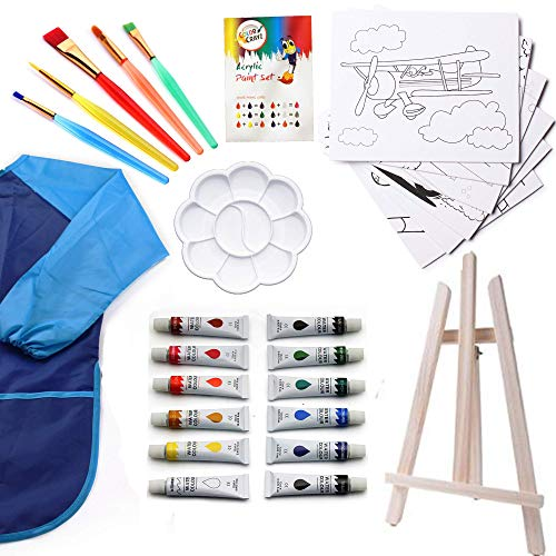Watercolor Paint Set | Kids 27 Piece Art Kit with 5 Paint Brushes | 12 Washable Paint | Tabletop Easel | 8x10 Canvases for Painting Pre Drawn & Bonus Art Smock Palette and Color Mixing Chart ()