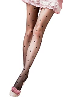 673cd4373 Ferbia Womens Pantyhose Cute Print Sheer Stockings Control Top Lace  Transparent Leggings Tights
