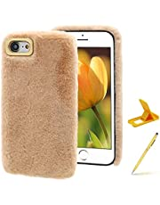 Herzzer Plush Case for Moto G Play (2021)),Warm Winter Cute Short Fluffy Furry Faux Fur Fabric Girly Flexible Soft Silicone Shockproof Back Cover,Khaki