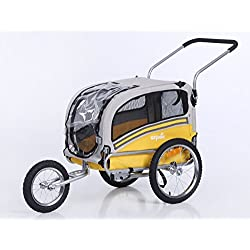 Sepnine Dog cart of 2 in1 Medium pet Dog Bike Trailer Bicycle Carrier and Stroller Jogger 20303 (Yellow/Grey)