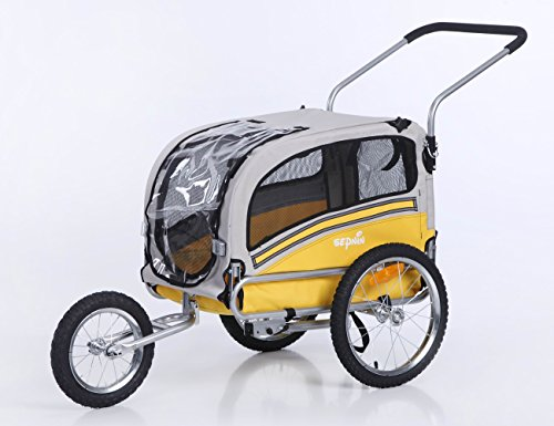 Sepnine Dog cart of 2 in1 Medium pet Dog Bike Trailer Bicycle Carrier and Stroller Jogger 20303 (Yellow/Grey) from Sepnine