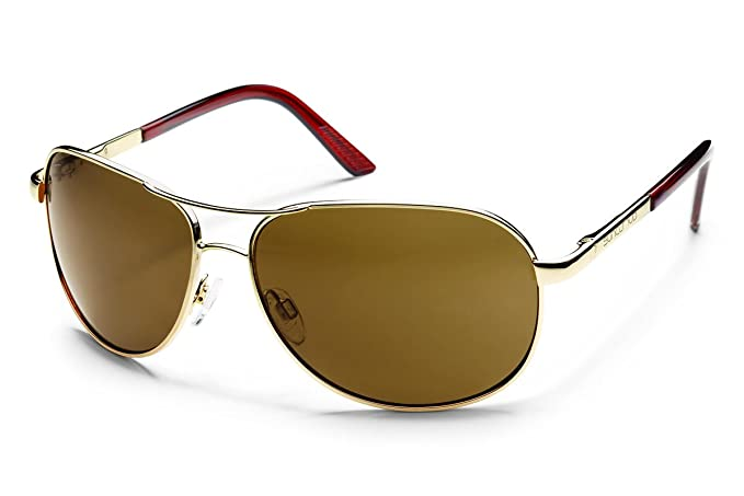 0882799f9a Amazon.com  Suncloud Aviator Polarized Sunglass (Gold Frame Brown ...