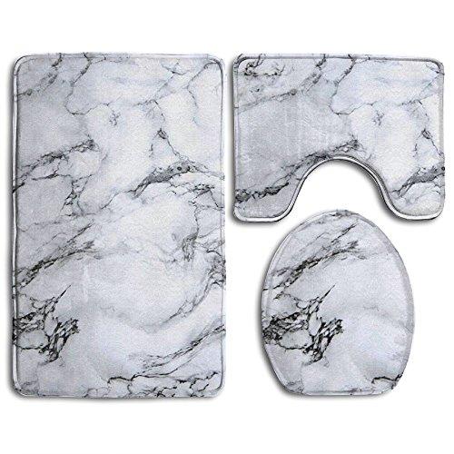 Bath Mat,3 Piece Bathroom Rug Set,White Marble Flannel Non Slip Toilet Seat Cover Set,Large Contour Mat,Lid Cover For Men/Women