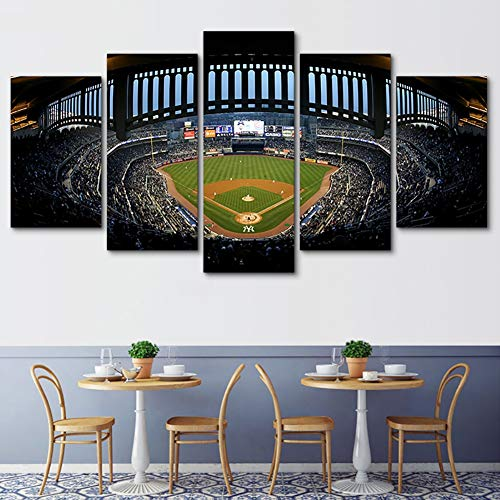 XLST Fresh Look Color 5 Piece Wall Art Oil Painting New York Yankee Stadium Prints On Canvas Pictures for Home Modern Decoration for Living Room,B,10X15X210X20X210X25X1