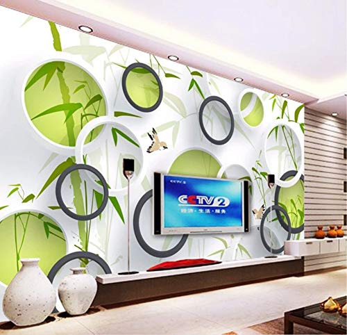 Wallpaper 3D Custom Green Bamboo Bird Circle Wall Mural 3D Living Room Sofa Tv Wall Bedroom Wall -