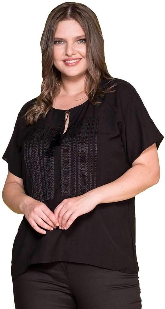 Hanezza - Blusa con Cuello Bordado para Mujer (Talla Grande) - Negro - 42/44 EU: Amazon.es: Ropa y accesorios
