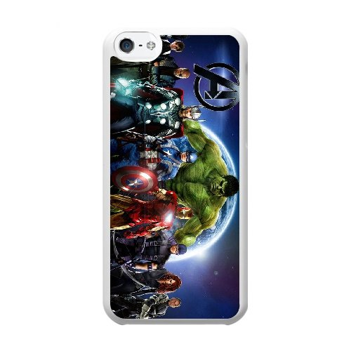 Coque,Coque iphone 5C Case Coque, The Avengers Superhero Cover For Coque iphone 5C Cell Phone Case Cover blanc