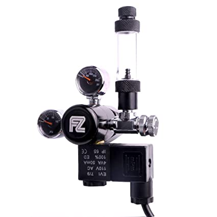 Fzone Dual Stage Aquarium CO2 Regulator 12V DC CO2 Solenoid Pressure Adjustable Big Dual Gauge Display with Bubble Counter and Check Valve with Installing Tool