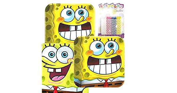 Amazon.com: Bob Esponja Party platos y servilletas Sirve 16 ...