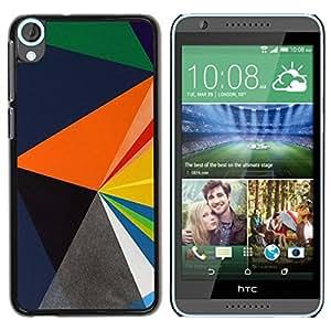 Paccase / SLIM PC / Aliminium Casa Carcasa Funda Case Cover para - Blue Orange Black Polygon Pattern - HTC Desire 820