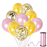 12Inch Baby Rose Light Pink and Gold Confetti Balloons for Mothers Day Baby Pink Shower or Birthday Wedding Table Decorations with Latex Helium or Air Golden Glitter Supplies Kit