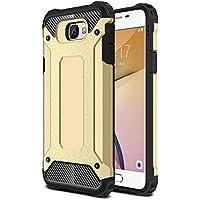 Samsung Galaxy J7 Prime Kılıf Kenarları Sert Silikon Anti Shock Full Koruma Zırh-Tank Kapak Gold (Altın)