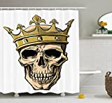 LIBIN King Shower Curtain by, Dead Skull Skeleton Head with Royal Holy Crown Tiara Hand Drawn Image, Fabric Bathroom Decor Set with Hooks, Golden and Light Brown