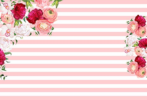 (HUAYI 7x5ft Pink and White Stripes Floral Flower Backdrop Photography Backdrops Party Photo Background Girls Baby Shower Photo Shooting Birthday Banner W-560)