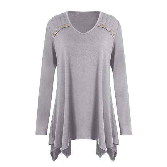☀ ☀️PANPANYshirt Mujer,PANYTops Blusa Camisetas Otoño Invierno Suelto Manga Larga Botón Talla