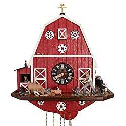 American Barn Cuckoo Clock w/ Barn Quilt and 8-Day Movement: It's Animated! The farmer hoes & the horse pops out of his stall to Music. Handcarved Cow, Pig, Chickens, Kitty, Bird. The perfect gift!