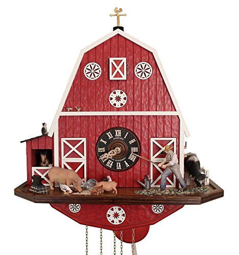 American Barn Cuckoo Clock w/Barn Quilt and 8-Day Movement: It's Animated! The farmer hoes & the horse pops out of his stall to Music. Handcarved Cow, Pig, Chickens, Kitty, Bird. The ()