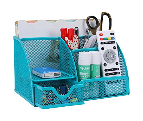 PAG Office Supplies Mesh Desk Organizer Pen Holder Accessories Storage Caddy with Drawer, 7 Compartments, Blue ()