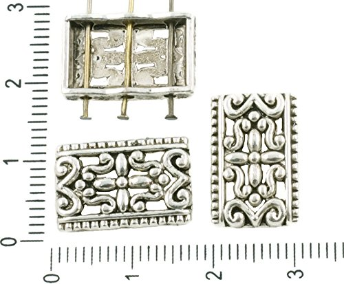 8pcs Antique Silver Tone Rectangle Hollow Flower Slider Spacer Bar Beads 3 Three Hole 11mm x (Hole Flower Spacer)