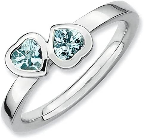 Sterling Silver Stackable Expressions Aquamarine Double Heart Ring (Sizes 5-10)