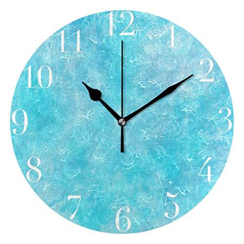 NMCEO Round Wall Clock Tiffany Blue Glitter Printing Acrylic Original Clock for Home Decor Creative (Grandfather Blue Clock)