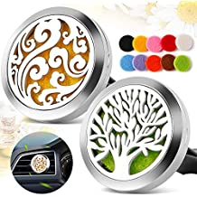 2PCS Car Air Freshener Aromatherapy Essential Oil Diffuser Vent Clip - Cloud, Tree of Life Stainless Steel Locket