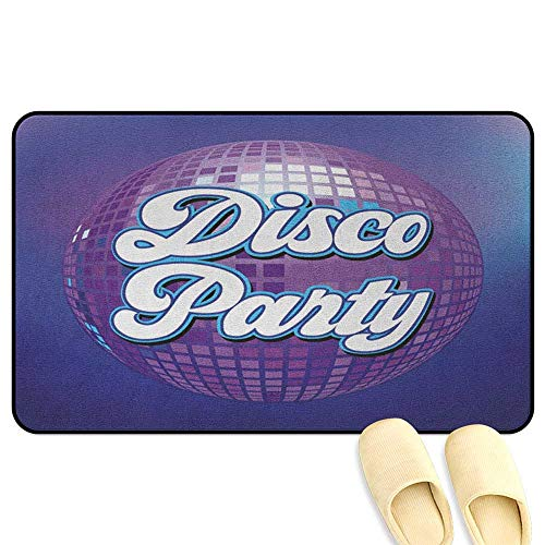 70s Party Bath Mat Non Slip Retro Lettering on Disco Ball Night Club Theme Dance and Music Art Print Purple Blue White Kitchen Decor mats W16 x L24 INCH ()