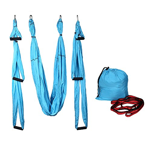 LIBERLUC Aerial Yoga Swing,Yoga Flying Hammock,Antigravity Aerial Trapeze,Yoga Inversion Tool With Daisy Chains,Blue