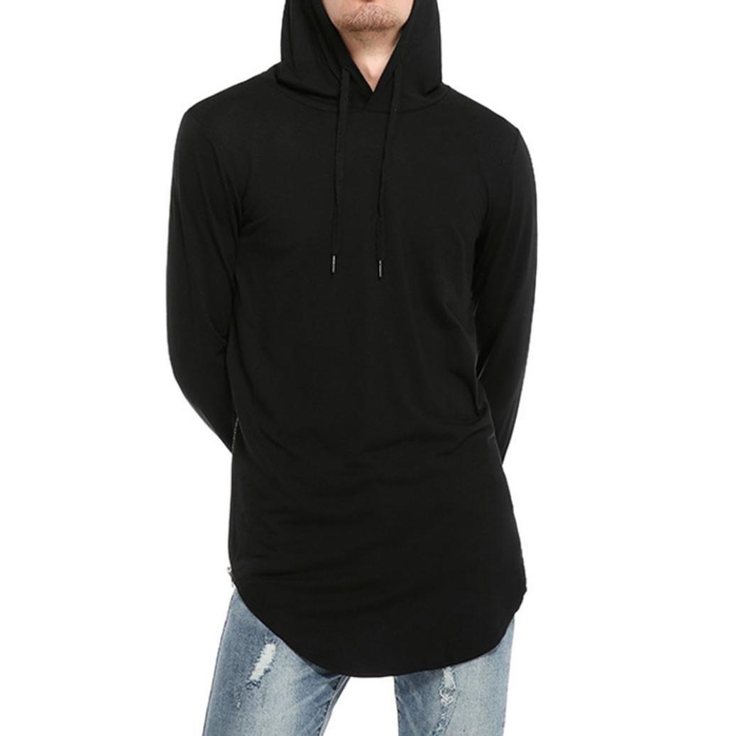 Shybuy Mens Fasihon Hipster Hip Hop Long Sleeve Longline Pullover Hoodies Shirts Casual Solid T-Shirt