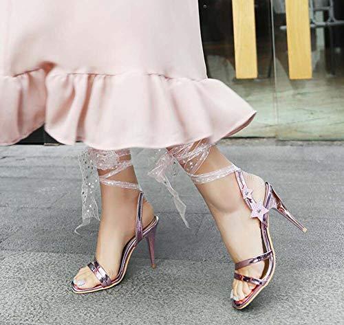 Glamorosas Código Talones Verano Tamaño 2019 Altos Pink Correas 31 45 Hueco Mujeres Cuadrado Glter Super Cabeza Sandalias Ow55T