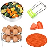 Steamer Basket Rack Set for Instant Pot Accessories Set - Include Steam Basket 2-Pack Stackable Egg Steam Stand Plate Gripper, Silicone Potholder Mat Pair of Mini Mitts for Pressure Cooker Accessories