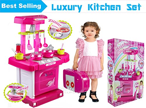 Vivir Luxury Battery Operated Kitchen Set With Lights, Sound And A Carry Case – Toys for kids ( Builds creative skills, Playful Learning, Role Play)