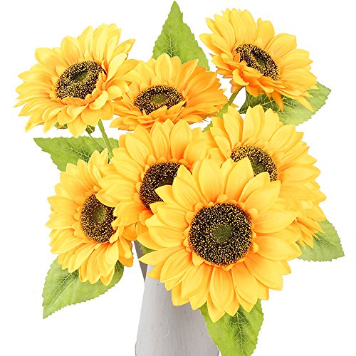 AmyHomie Artificial flowers, Artificial Sunflowers,9 Flowers Per Bunch, 1 Bunches Per Pack