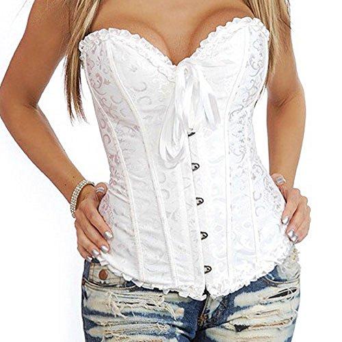 819 - Plus Size Lace Up Ribbon Ties Bustier Bridal Lingerie Corset (8X, (Plus Size Bridal)