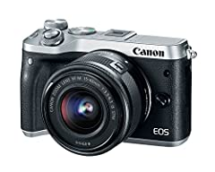 The EOS M6 is the perfect camera for any opportunity. Its appealing size makes it easy to travel while its compatibility with interchangeable lenses lets you decide your creativity. Packed with 24.2 megapixels, dual pixel CMOS AF with Phase d...