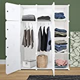 ROKOO Clothes Closet Wardrobe Portable DIY Modular Cube Shelving System Storage Organizer with Hanging Rod and Door Stickers Larger Space Thicker Board Sturdy Construction (12 cube)
